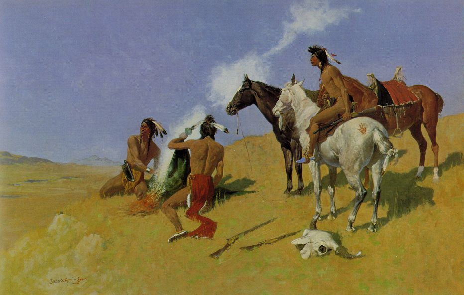 Painting by Frederic Remington showing native americans generating a smoke signal; Amon Carter Museum, Fort Worth